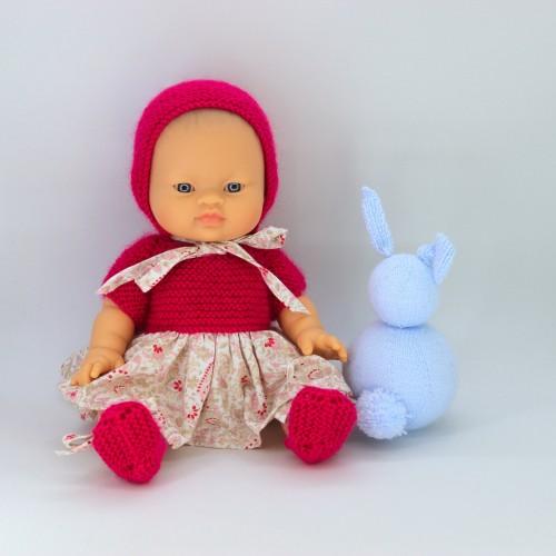 Conjunto vestido, tela y lana capota lana y zapatos para Gordis de Paola Reina 34 cm