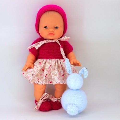 Conjunto vestido, tela y lana capota lana y zapatos para Mi primer Nenuco 32/ Gordis de Paola Reina 34 cm