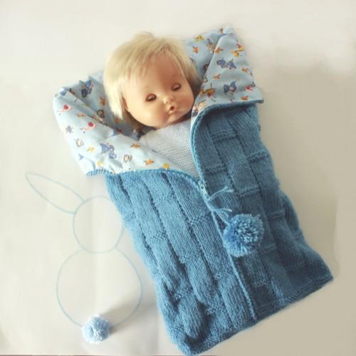 Saquito de lana y tela para muñeco medio grande