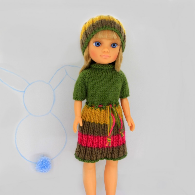 Patrón vestido verde y rayas Nancy