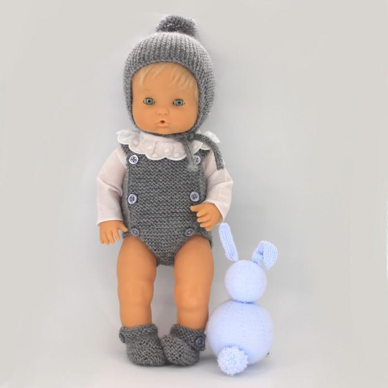 Conjunton pelele botones, patucos , gorro y camisa Nenuco tradicional
