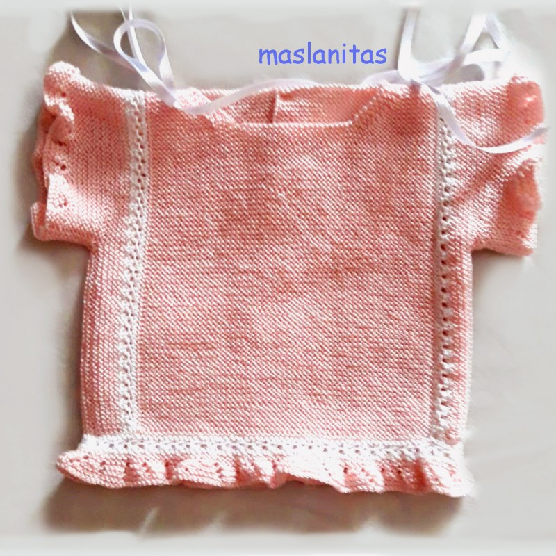 Patrón Jersey rosa manga corta Bebé primera postura