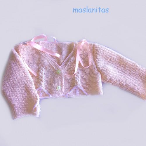 Patrón rebeca rosa con ocho Bebé 0-3 meses