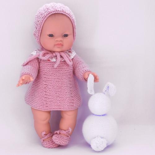 Patrón vestido capota y zapatos de lana muñecos 32-34 cm