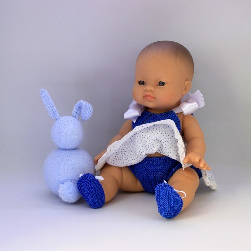Patrón vestido ranita y zapatos de lana muñecos 32-34 cm