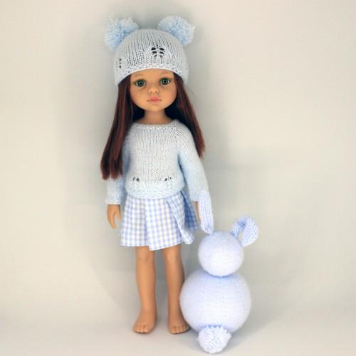 Conunto jersey y gorro de lana y falda de tela Paola Reina 32 cm