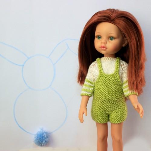 Conjunto pantalón peto y jersey de lana Paola Reina 32 cm