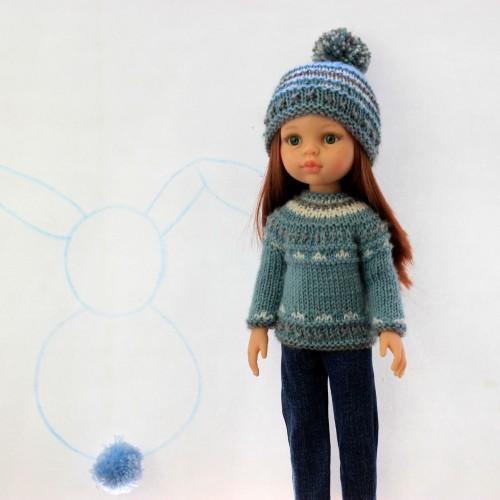 Conjunto jersey y gorro de lana y pantalón vaquero Paola Reina 32 cm