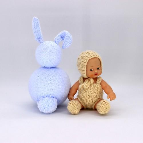 Conjunto pelele capota y patucos de lana barriguitas