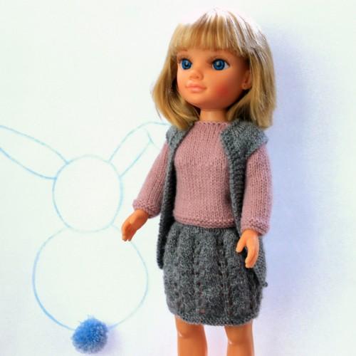 Conjunto jersey, chaleco y falda de lana Nancy