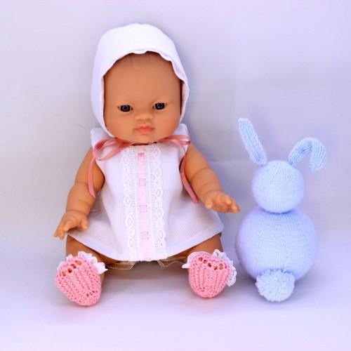 Conjunto vestido y capota de tela y zapatos de lana para Gordis de Paola Reina 34 cm
