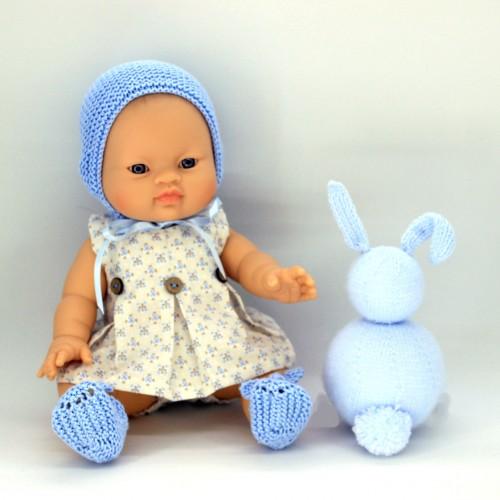 Conjunto vestido de tela y capota zapatos de lana para Gordis de Paola Reina 34 cm