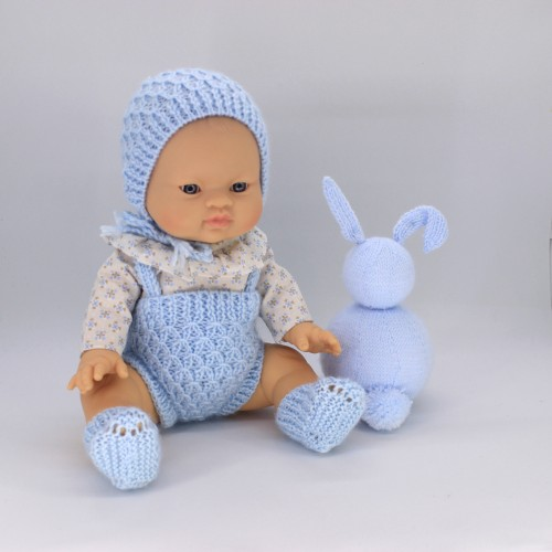 Conjunto pelele , capota y patucos de lana con camisa de tela para Gordis de Paola Reina 34 cm