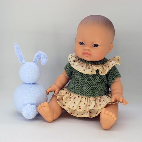 Conjunto vestido de tela y lana y braguita de lana para Gordis de Paola Reina 34 cm