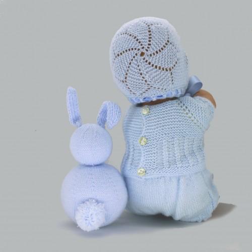 Conjunto de jersey, pelele, capota y zapatos para Nenuco 32 cm cuerpo de trapo