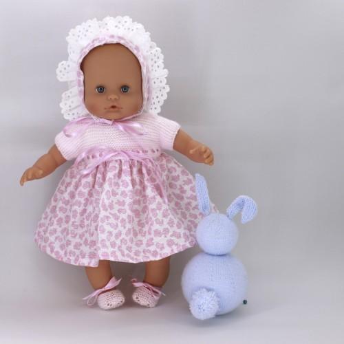 Conjunto vestido lana y tela Nenuco 32 cm cuerpo de trapo