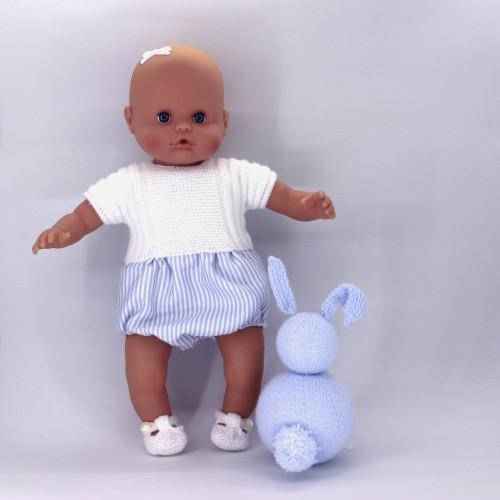 Pelele de punto y tela para Nenuco 32 cm cuerpo de trapo