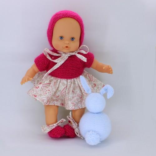 Conjunto vestido, tela y lana capota lana y zapatos para Nenuco 32 cm cuerpo de trapo