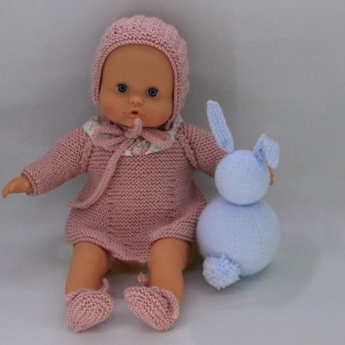 Conjunto vestido, capota y zapatos de lana para Nenuco 32 cm cuerpo de trapo