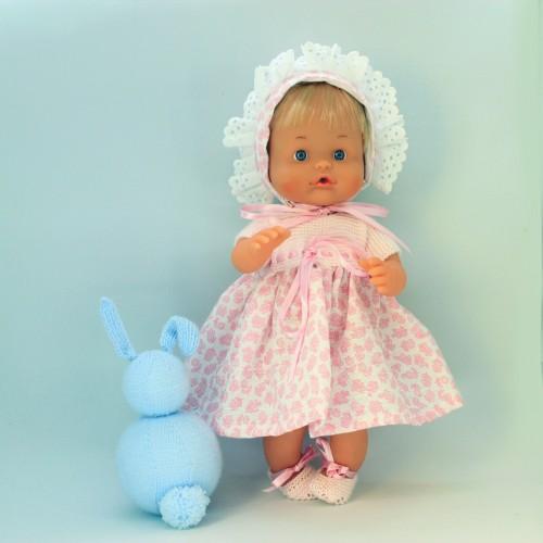 Conjunto vestido lana y tela Nenuco 32 cm cuerpo duro