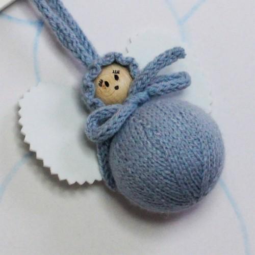 Angelito clásico de lana azul envejecido