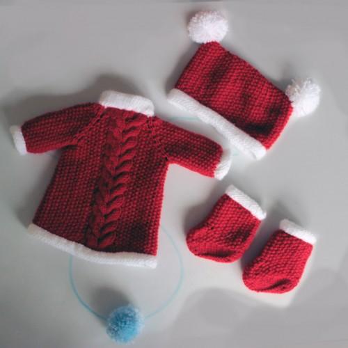 Conjunto vestido, gorro y botas navidad Nancy