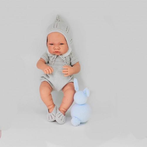 Conjunto vestido, cuello, gorro, braguita y zapatos Antonio Juan 42 cm