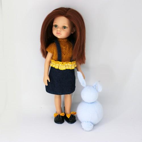 Patrón conjunto falda vaquera volante, jersey y zapatos Paola Reina 32 cm