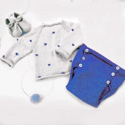 Patrón conjunto bodoques jersey, zapatos y cubrepañal bebé 1-3 meses