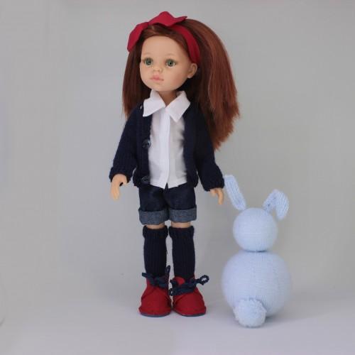 Patrón conjunto pantalón corto, camisa, jersey, calcetines y botas Paola Reina 32 cm