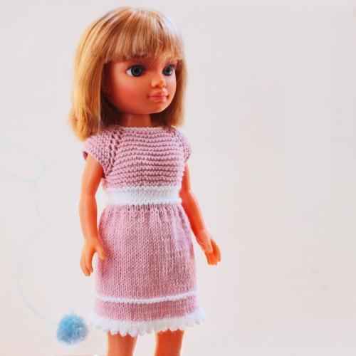 Patrón vestido rosa y blanco y rebeca Nancy