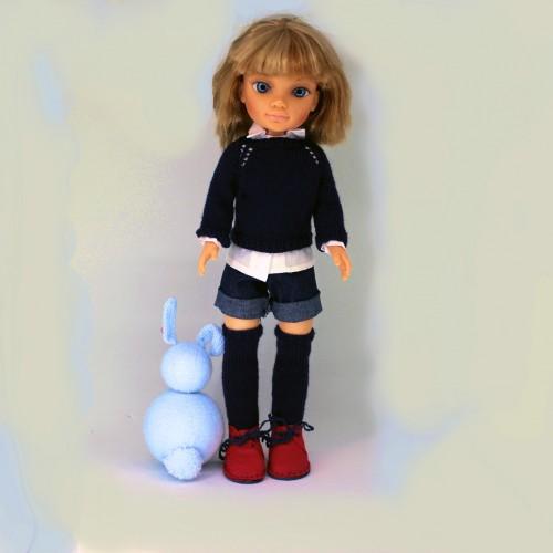 Conjunto pantalón vaquero, jersey, camisa, calcetinesy botas Nancy