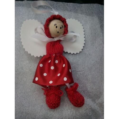 Angelito de lana y cinta rojo