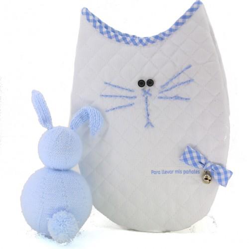 Bolsa Portapañales gato azul