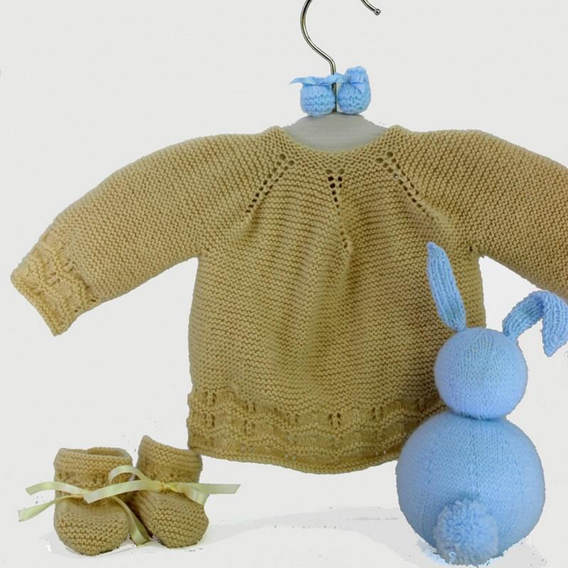 Patrón de punto dos agujas principiantes jersey y patucos bebé ...