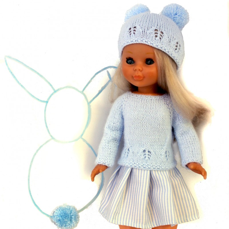 1ca17cf72 Patrón para muñeca Nancy un jersey y un gorro para realizar en punto dos  agujas y una falda de tela