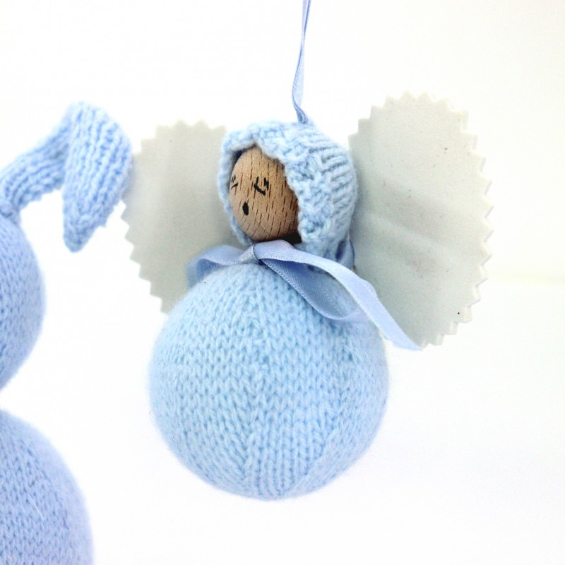 Angelito clásico de lana celeste