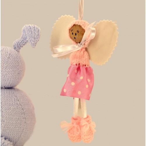 Angelito de lana y cinta rosa