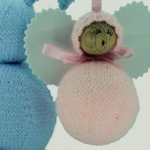 Angelito clásico de lana rosa