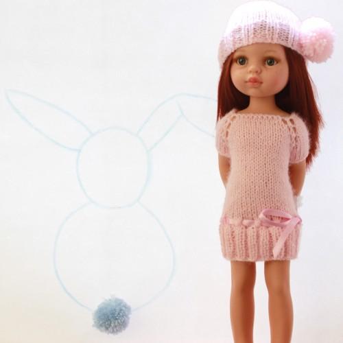 Patrón vestido y gorro rosa para Paola Reina 32 cm